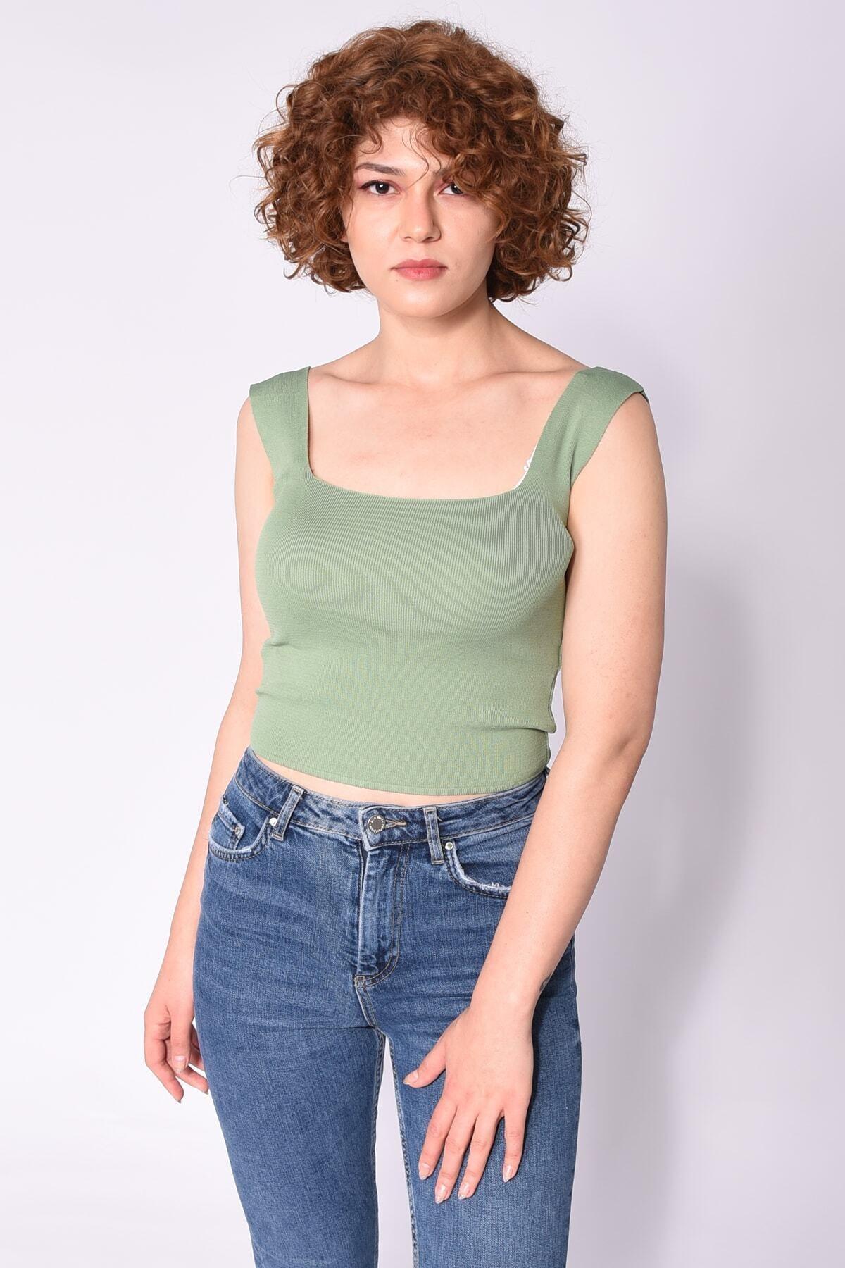 Samtoni Kare Yaka Bluz Yeşil 1