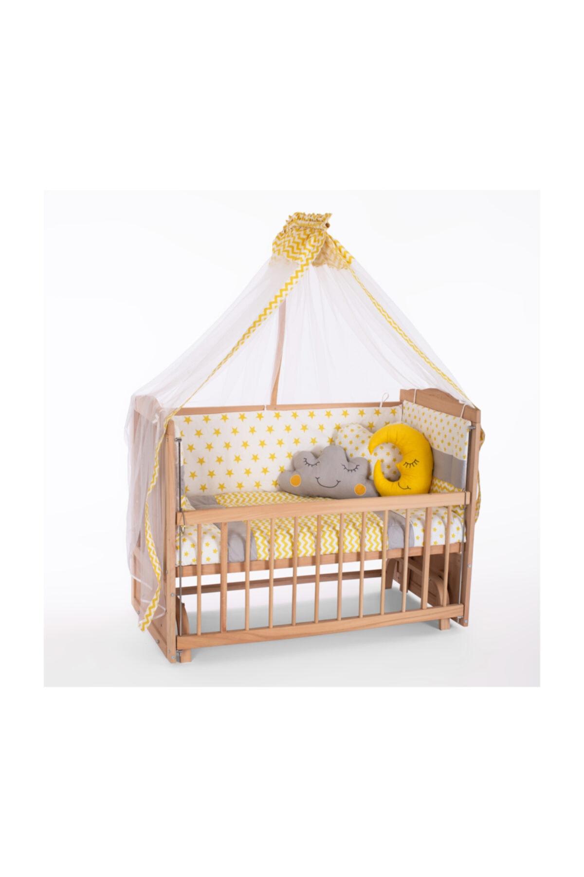Heyner Ahşap Beşik Anne Yanı Beşik Sallanır Beşik Organik 60x120 + Sarı Yıldız Uyku Seti + Yatak 1