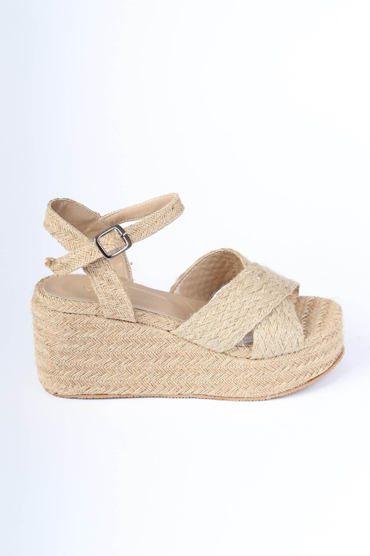 Modabuymus Hasır Dolgu Tabanlı Çapraz Bantlı Espadril Kadın Sandalet - Yummy 2