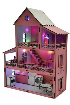 PARSTEK Pembe Barbie Ev Eşyalı 3 Kat Led Işık Ve Bebekli Demonte Full