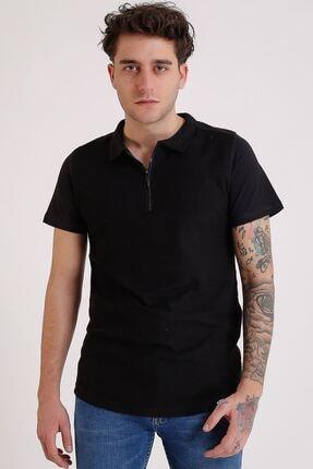 LTC Jeans Erkek Polo Yaka Siyah Fermuarlı T-shirt