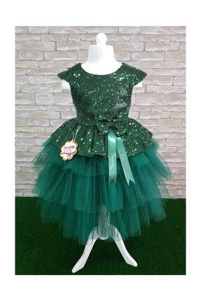 Mixie Kız Çocuk Yeşil Tüllü Abiye Elbise