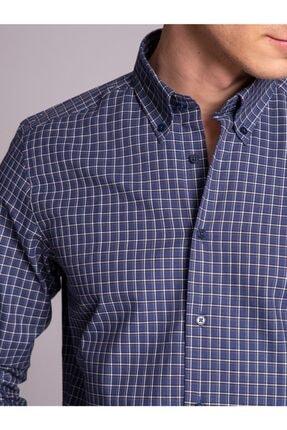 Dufy Lacivert Kareli Pamuklu Erkek Gömlek - Slım Fıt
