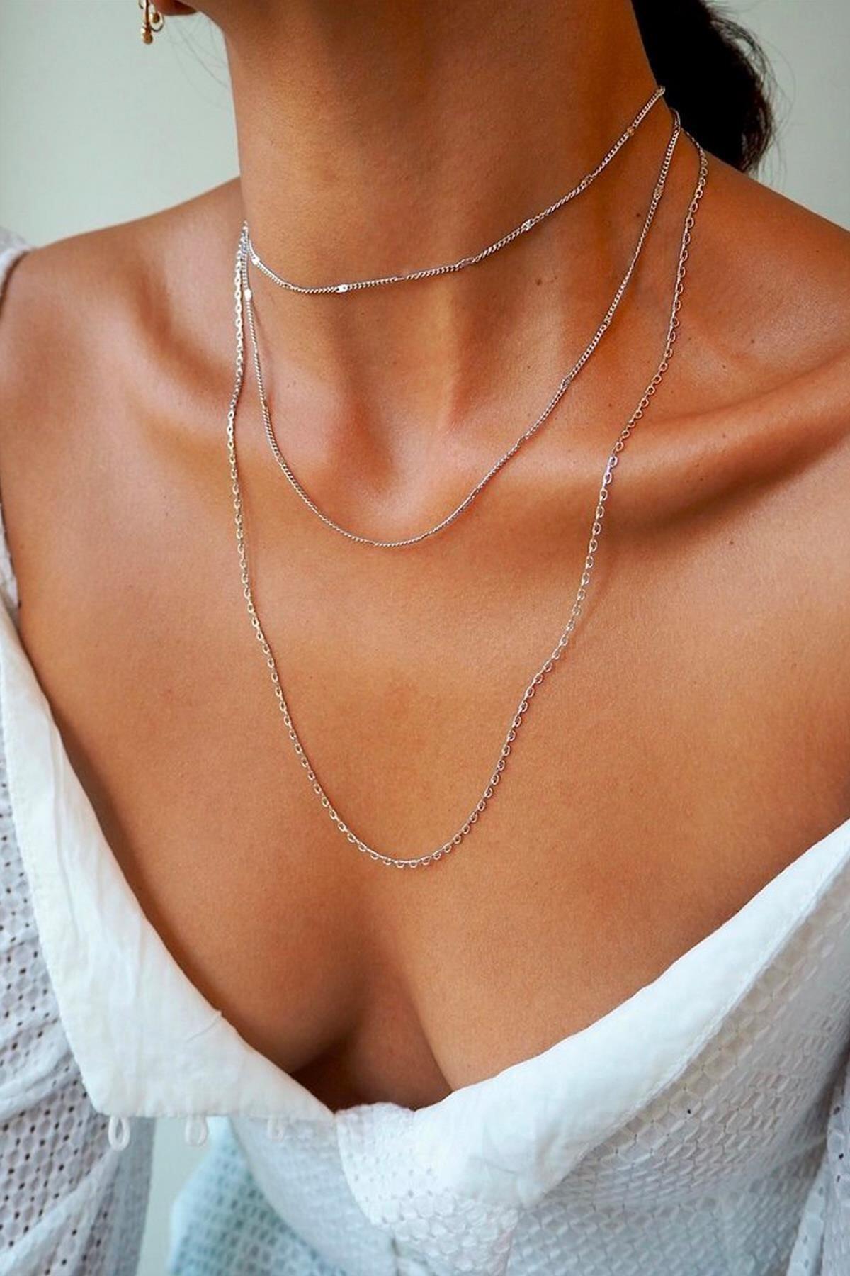 X-Lady Accessories Kadın Çoklu Şeri Kolye Gümüş Renk 1
