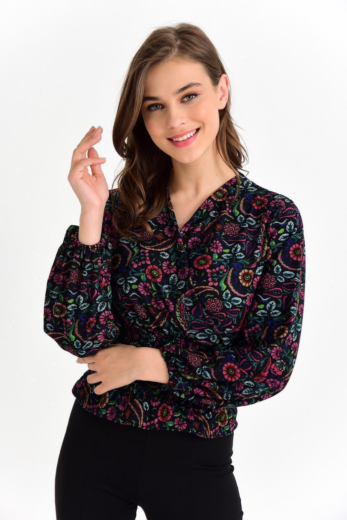TENA MODA Kadın Siyah-fuşya Örme Crep Gipeli Bluz 2