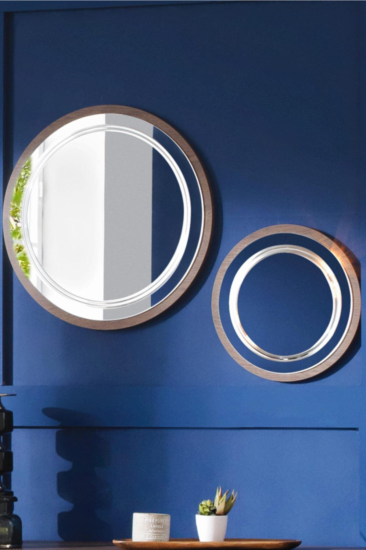 ACELYA Dekoratif Ayna & Duvar Aynası & Yuvarlak Ayna & Konsol Aynası 2'li Set Ceviz 1