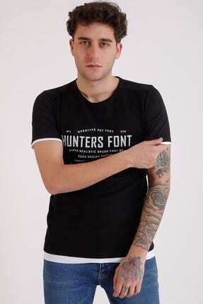 LTC Jeans Bisiklet Yaka Baskılı Model Detay Siyah Erkek T-shirt