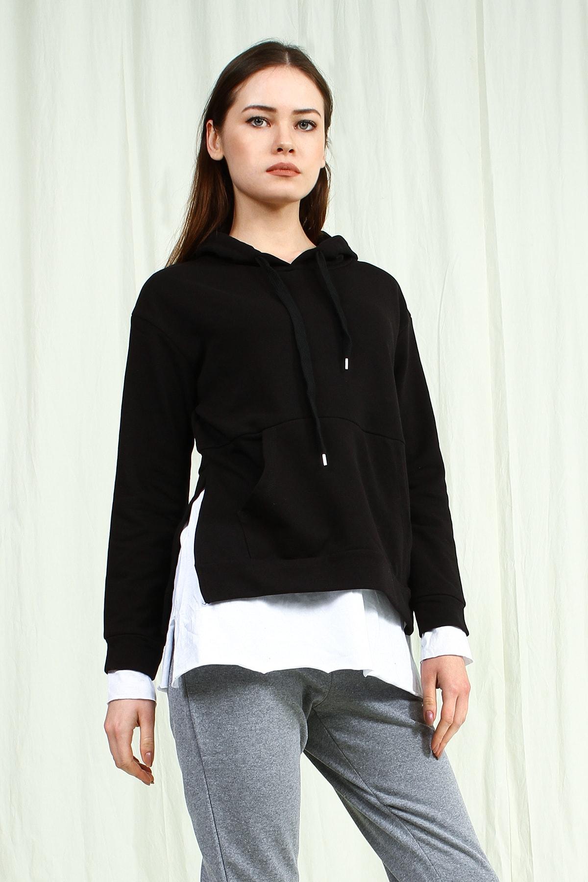 Collezione Siyah Kapişonlu Yanları Yırtmaçlı Ön Cep Detaylı Uzun Kollu Kadın Sweatshirt 2