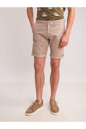 Dufy Bej Düz Pamuk Likra Karışımlı Erkek Short - Slım Fıt
