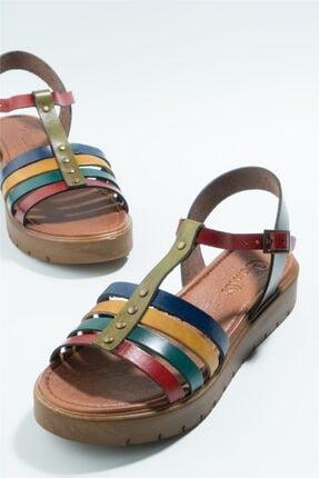Bambi Hakiki Deri Çok Renkli Kadın Sandalet H0529030703