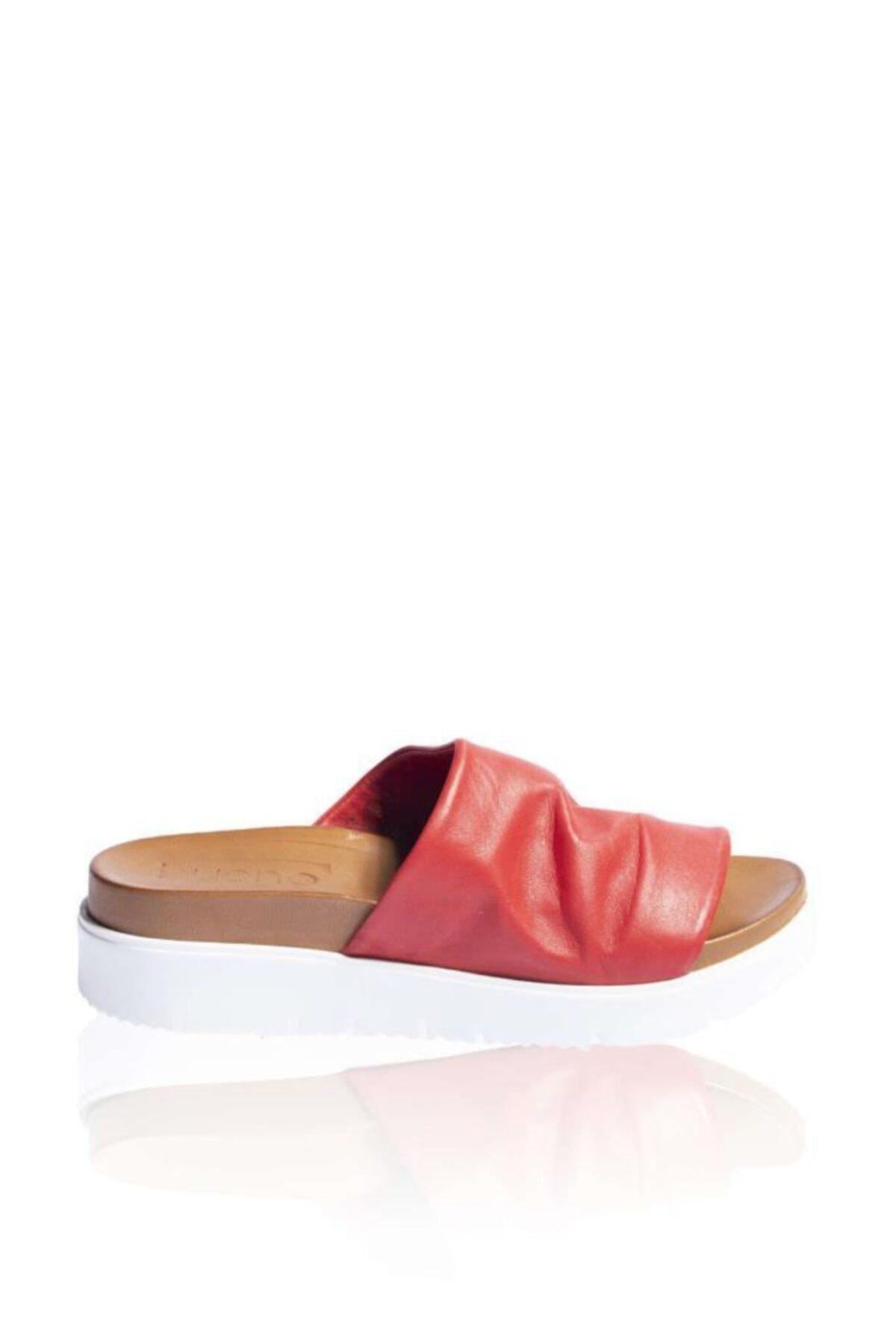 BUENO Shoes Önü Açık Hakiki Deri Kadın Dolgu Topuk Terlik 9n3400 1