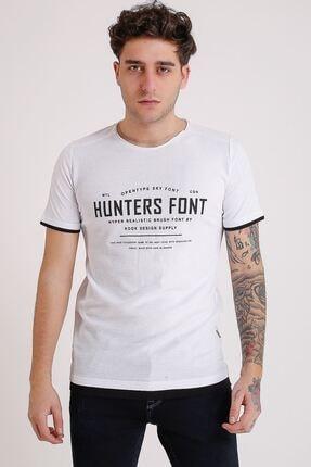LTC Jeans Bisiklet Yaka Baskılı Model Detay Beyaz Erkek T-shirt