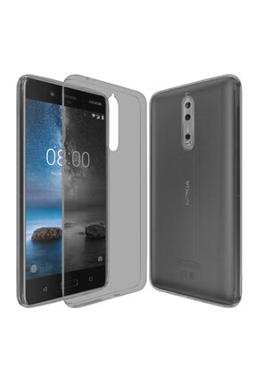 Nokia 8 Kılıf Soft Silikon Şeffaf-siyah Arka Kapak