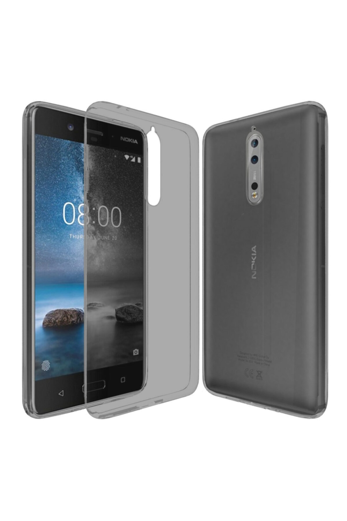 Nokia 8 Kılıf Soft Silikon Şeffaf-siyah Arka Kapak 1
