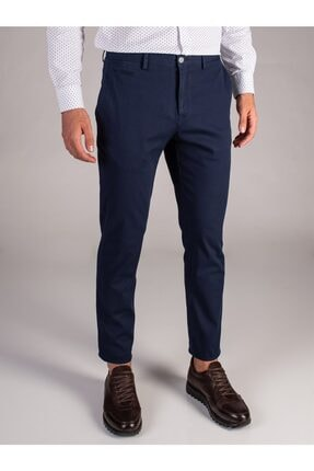 Dufy Lacivert Düz Sık Dokuma Erkek Pantolon - Slım Fıt