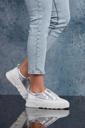 DARK SEER Hakiki Deri Gümüş Kadın Sneaker