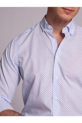 Dufy Beyaz Desenli Nefes Alabilen Erkek Gömlek - Slım Fıt