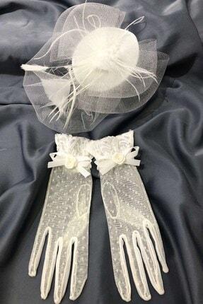 Hayalperest boncuk Beyaz Puantiyeli Eldiven- Sade Vualet Nikah Şapkası
