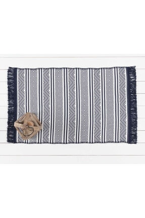 Madame Coco Ruban Ethnique Saçaklı Dokuma Kilim - Lacivert / Beyaz 60x100 Cm