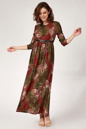 Bigdart 10294 Kemerli Çiçek Desenli Tesettür Elbise