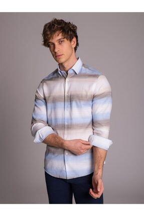 Dufy Bej Mavi Pamuklu Erkek Gömlek - Slım Fıt