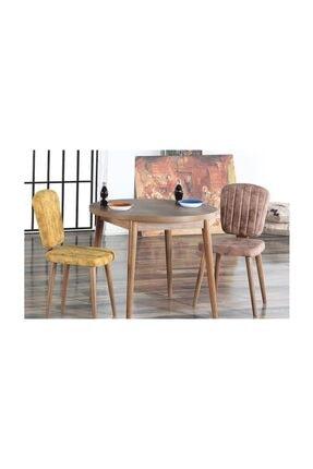 MYMASSA - Q90 Barok Yuvarlak Balkon Masası Cafe Masası Ve Legno Sandalye Takımı