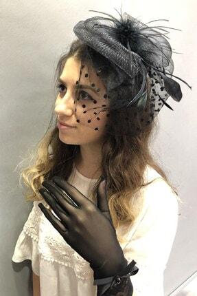 Hayalperest boncuk Siyah Tüllü Eldiven Vualet Nikah Şapkası