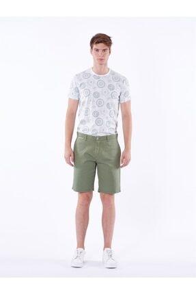 Dufy Yeşil Düz Pamuk Likra Karışımlı Erkek Short - Slım Fıt