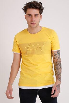LTC Jeans Bisiklet Yaka Nakışlı Sarı Erkek Penye T-shirt