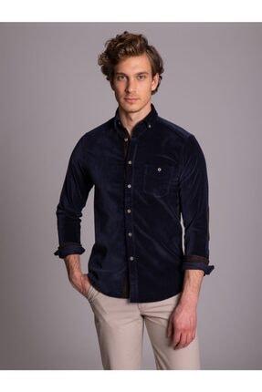 Dufy Lacivert Düz Kadife Dirsek Yamalı Erkek Gömlek - Slım Fıt