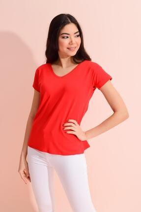 TENA MODA Kadın Kırmızı V Yaka Geniş Salaş Tişört