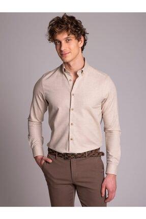 Dufy Bej Pamuk Yün Karışımlı Desenli Erkek Gömlek - Slım Fıt
