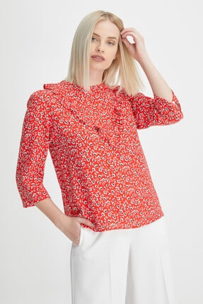 Gusto Çıtır Desenli Bluz - Kırmızı