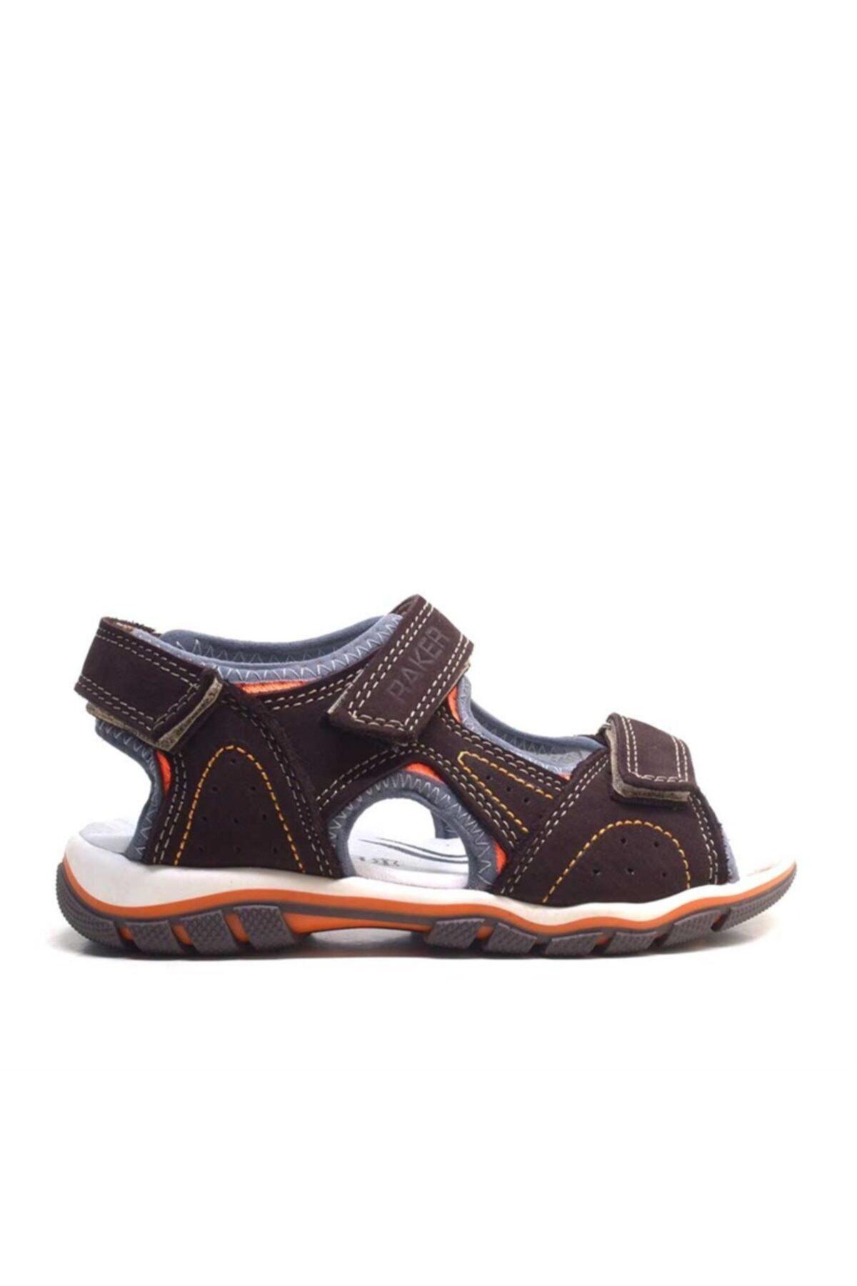 Raker Hakiki Deri Kahverengi Cırtcırtlı Erkek Çocuk Sandalet 2