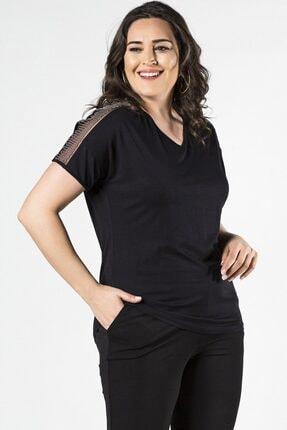 Womenice Büyük Beden Siyah Kolları Tül Zincirli Kısa Kol Bluz