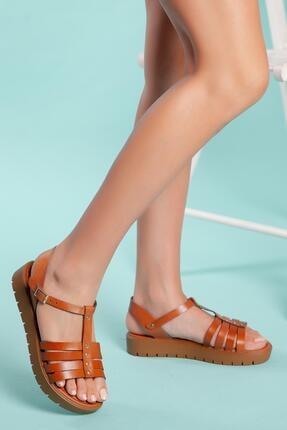 MUGGO Sndt04 Hakiki Deri Sandalet