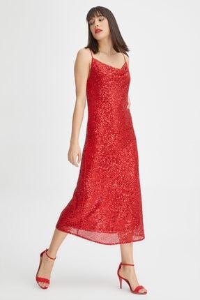 Gusto Pul Payet Uzun Gece Elbisesi - Kırmızı