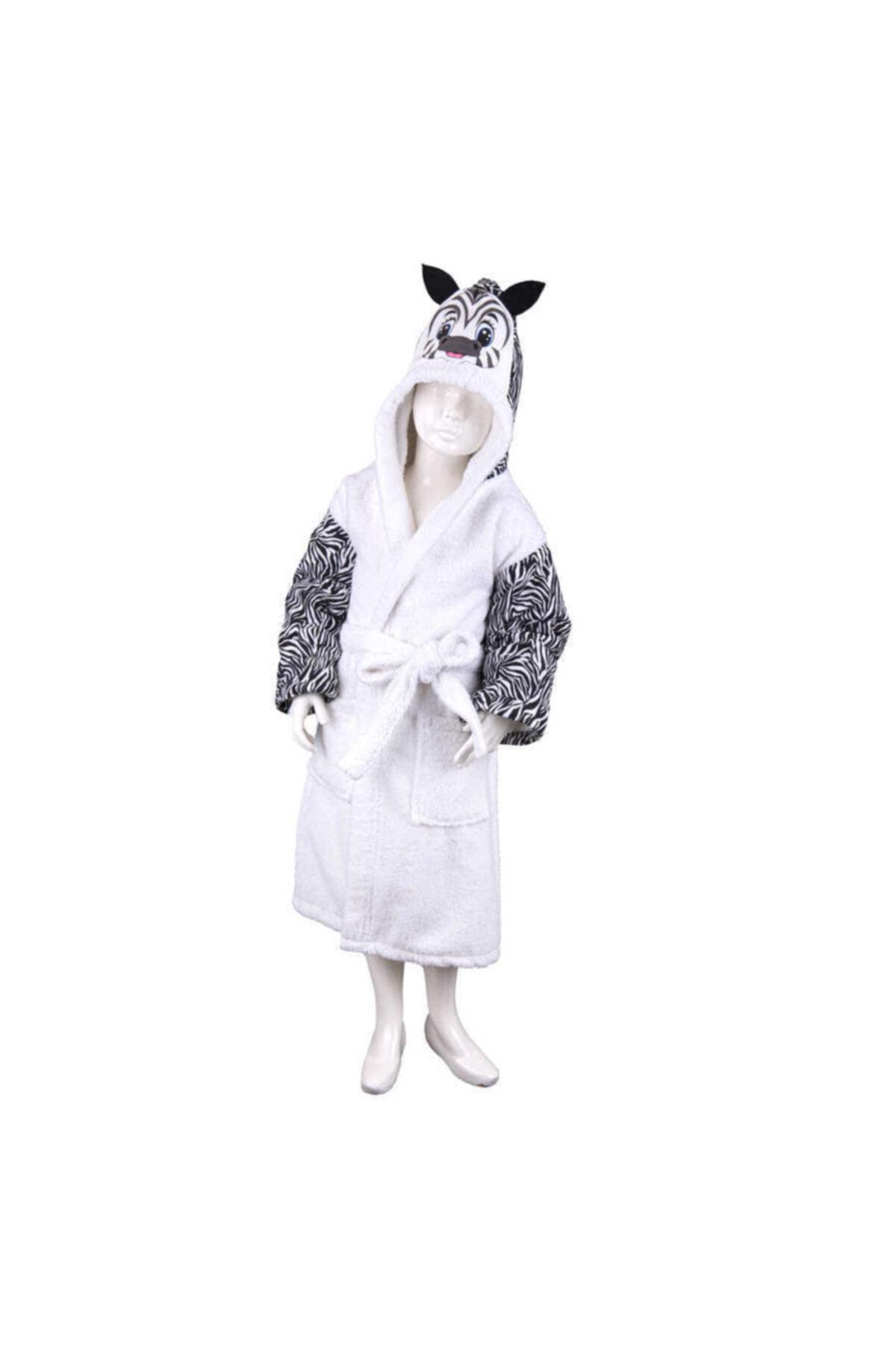 Minteks Safarı Cocuk Bornozu - Zebra Beyaz 7-12 1