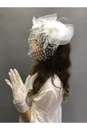 Hayalperest boncuk Beyaz Dantelli Çiçekli Eldiven-puantiyeli Vualet Nikah Şapkası