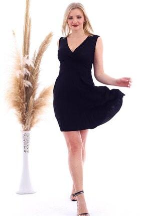 Cotton Mood 20070781 Örme Krep Eteği Pliseli Kruvaze Yaka Kolsuz Elbise Sıyah