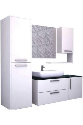 RENİTSA Niva Banyo Dolabı Takımı + Ayna + Seramik Lavabo