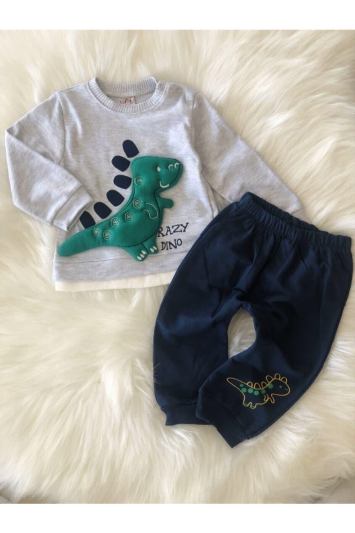 Crazy Baby Erkek Çocuk 9-12-18 Ay Dino Oyuncaklı Takım 2