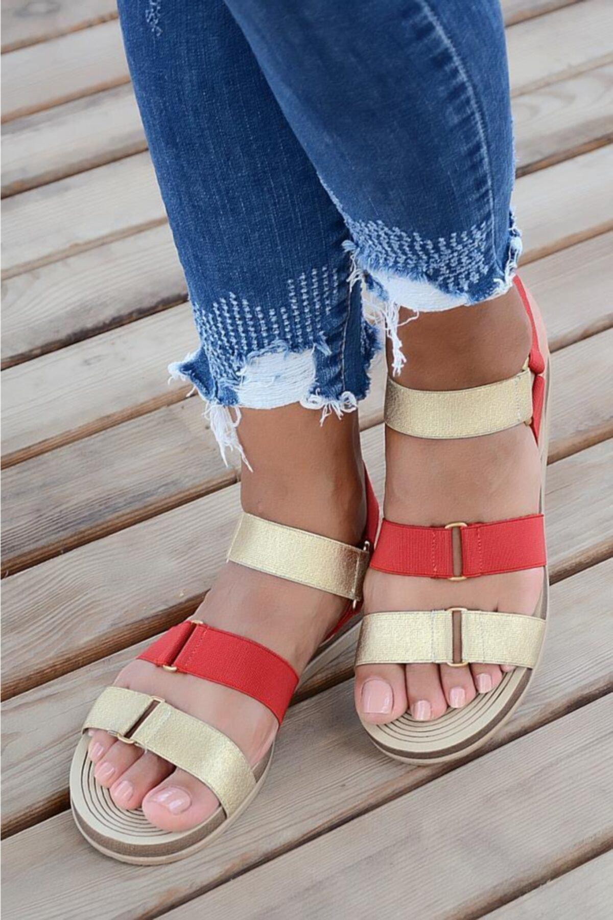 Pembe Potin Kadın Sandalet 1