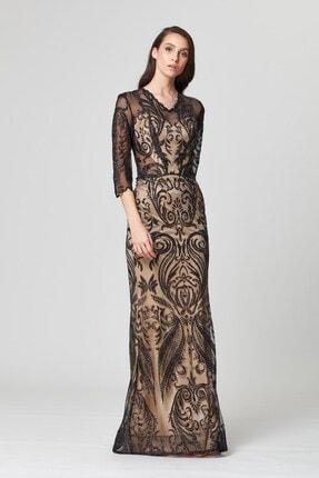 Abiye Sarayı Siyah Transparan Detaylı Simli Uzun Abiye Elbise