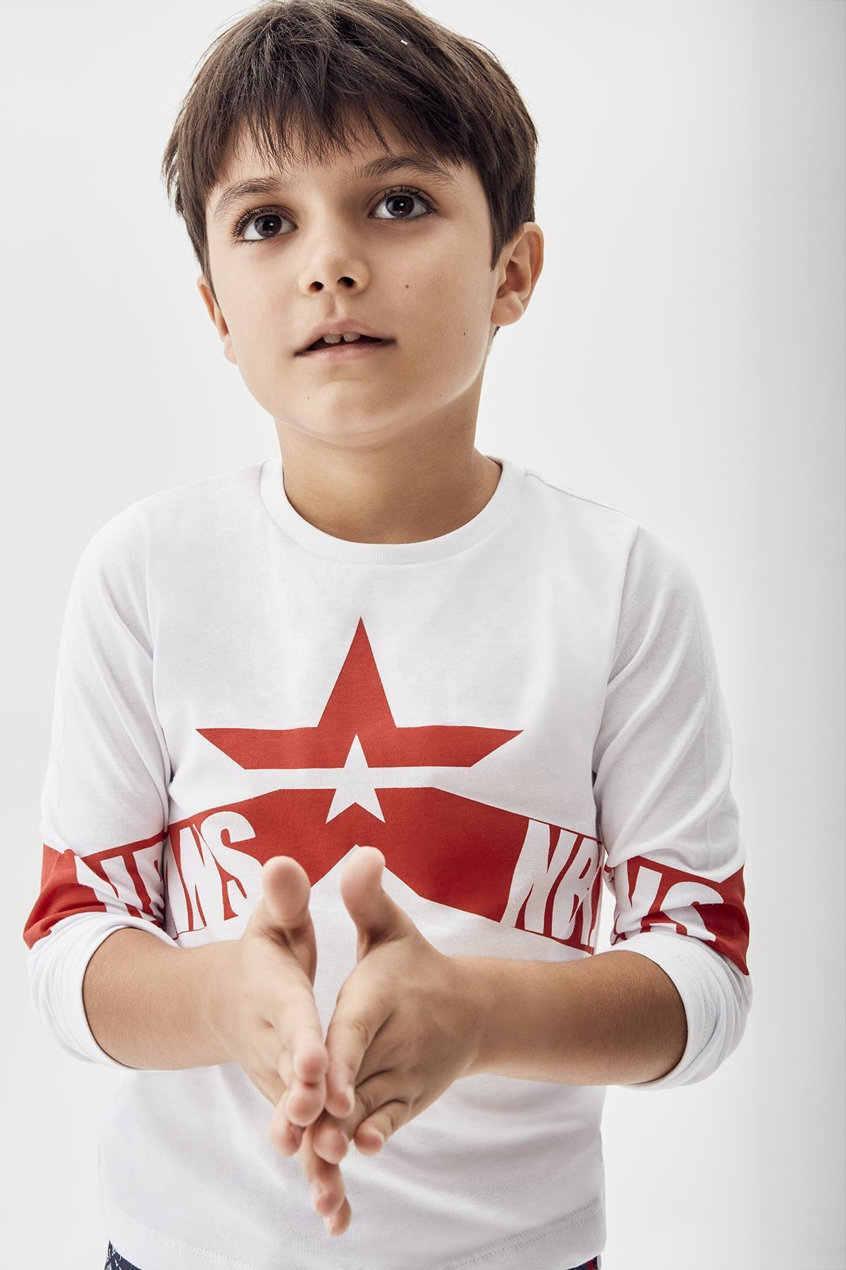 Nebbati Erkek Çocuk Beyaz T-shirt 20pfwnb3501 1