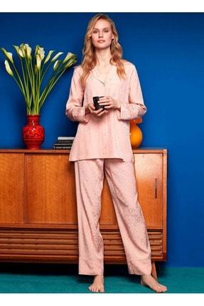 Penyemood Penye Mood 8605 Önden Düğmeli Pijama Takımı - - Pudra - S