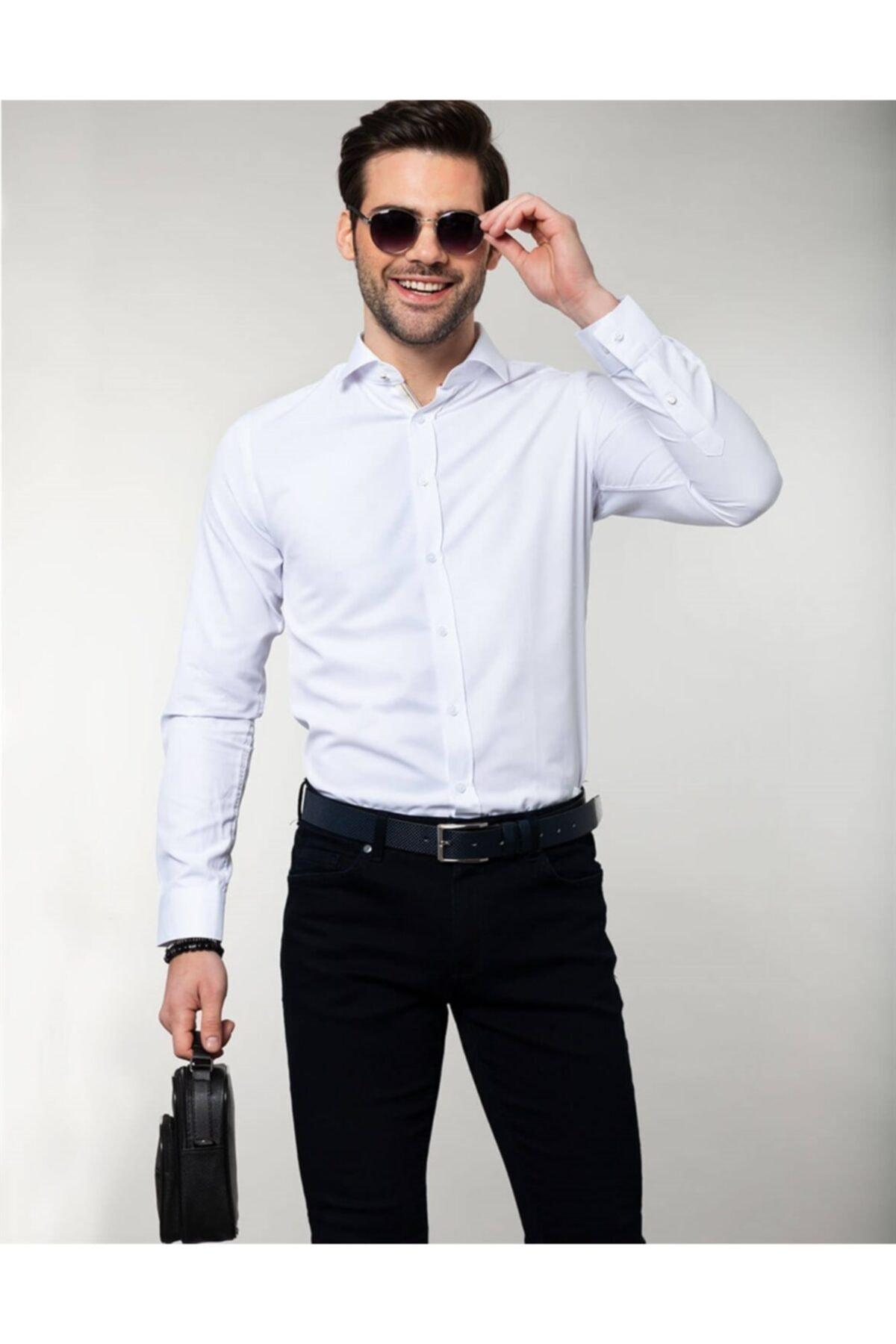 Tudors Slim Fit Beyaz Erkek Gömlek 1