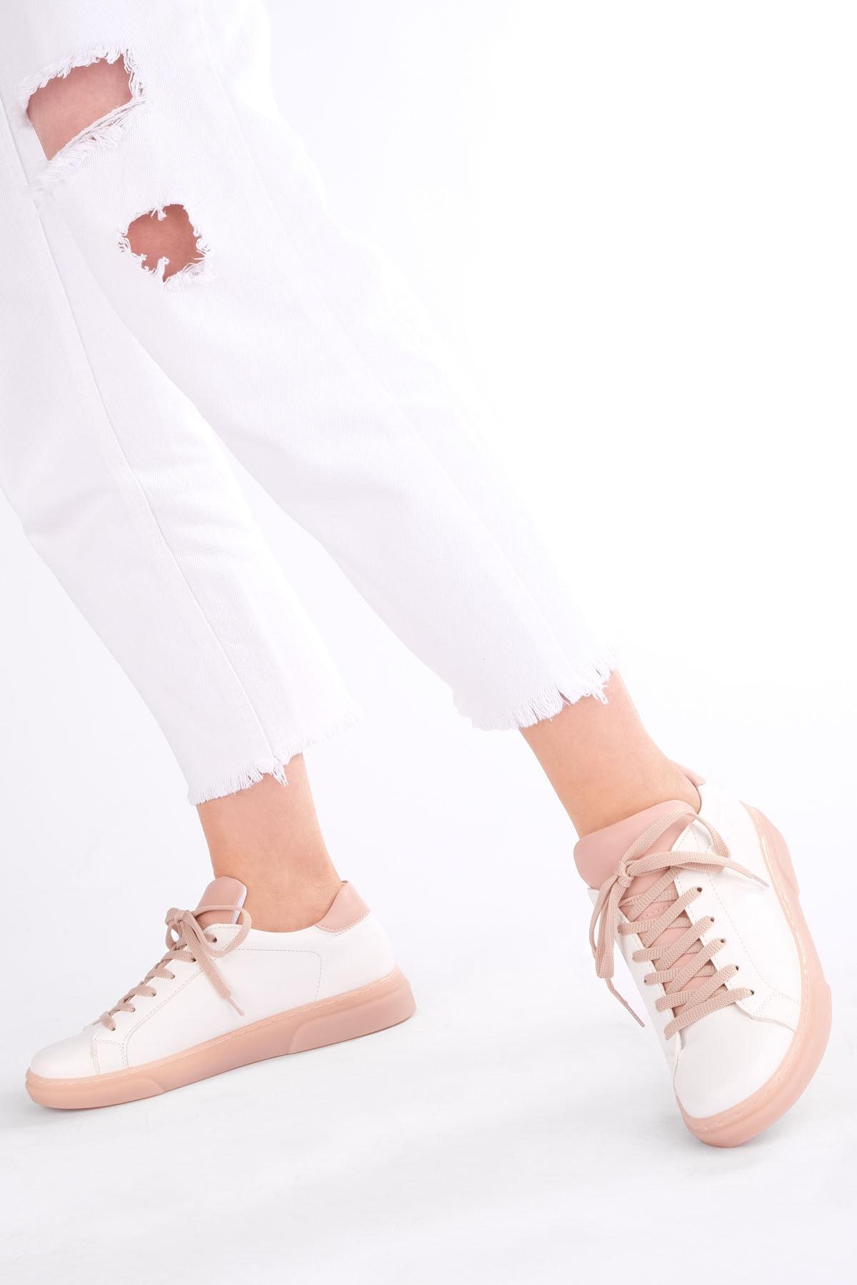 Marjin Kadın Pudra Beyaz Sneaker Ayakkabı Riyo 2