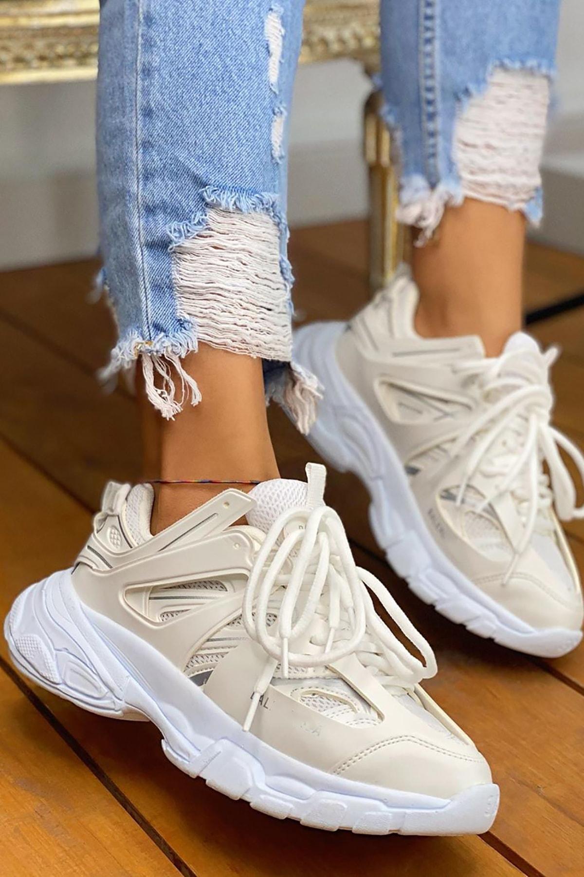NOVELYA Unisex  Beyaz Track Yüksek Taban Sneakers Ayakkabı 2