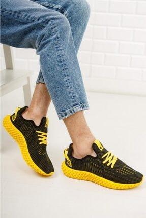 DUNLOP Erkek Siyah Sarı Triko Sneaker Spor Ayakkabı 1020